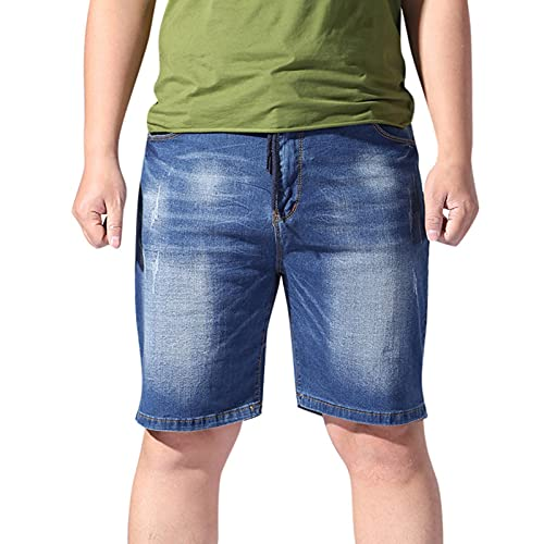 Mens Summer Denim Short Pants Stretch Elastic Waist Drawstring Skate Board Jeans