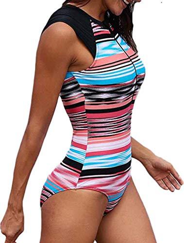 Socluer Costume da Bagno Donna Monokini Nautical Sports Imbottito Slim Slim Fit Un Pezzo Surf con Zip Frontale