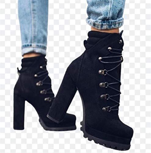 ZYLL Women's Chunky Block Heel Platform Stiefel Wildleder Lace Up Combat Ankle Boots Damen High Heel Booties,Schwarz,40