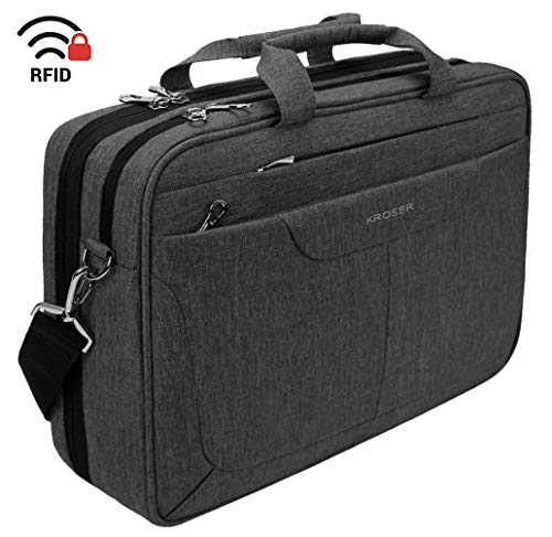 KROSER Laptop Bag 15.6 inch Briefcase Check Point Friendly Laptop Messenger Bag Water Repellent Computer Case with RFID Pockets for College/School/Business/Women/Men-Charcoal Black