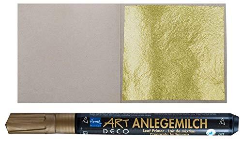 10 Blatt Echtes Blattgold 23,75 Karat 38 x 38 mm Echtgold Speisen Essbar + 1 x Anlegemilch im Stift