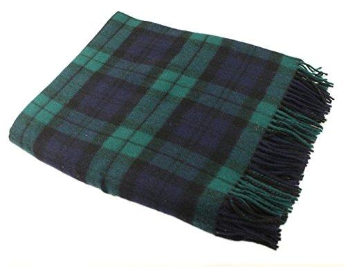"Irish Wool Blanket 100% Lambswool Tartan and Plaid 54"" x 71""John Hanly Blanket Made in Co. Tipperary, Ireland Blackwatch"