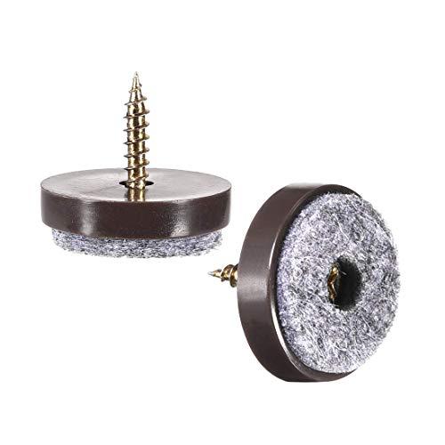 Protector de uñas para pies de muebles atornillado de 24 mm de diámetro para patas de silla de mesa de madera 20 piezas