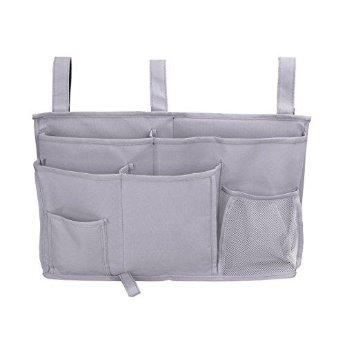 Pinji 8 Pockets Bedside Storage Bag Caddy Hanging Organizer Pockets for Headboards, Bed Rails, Dorm Rooms,Bunk Beds, Hospital Beds Grey