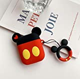 Cocomii 3D Disney AirPods Hülle, Schlank Dünn Matte Sanft Flexibel TPU Silikon Gummi Gel Mit Schlüsselring 3D-Disney-Figuren Karikatur Mode Hülle Bumper Cover Schutzhülle for Apple AirPods (Mickey)