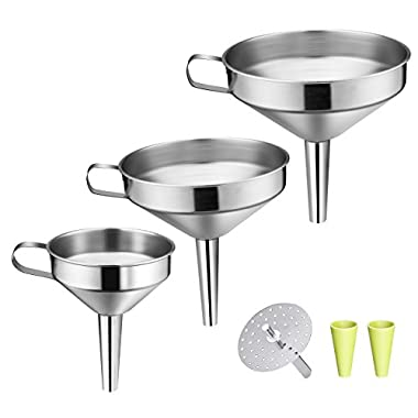 OMorc Strainer Funnel Set, 3 Pack Stainless Steel Funnels Set with Handle Design and Removable Strainer, Great for Transferring of Liquid, Fluid, Dry Ingredients & Powder, Durable and Dishwasher Safe