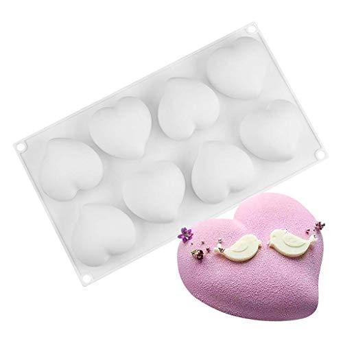 duquanxinquan 6 Herzche Silikonform mit Herzen Silikonform für Muffins, Brownies, Cupcake,Valentinstag, Liebe, Hochzeit, Kuchen, Pudding 29.5 x 17.5cm Farbe: Weiß
