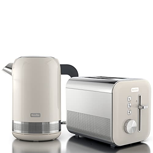 Breville Cream Kettle & Toaster Set | High Gloss Collection | with 1.7L Fast-Boil 3KW Kettle and 2-Slice Toaster featuring High Lift | Cream & Stainless Steel [VKT152 + VTT967]