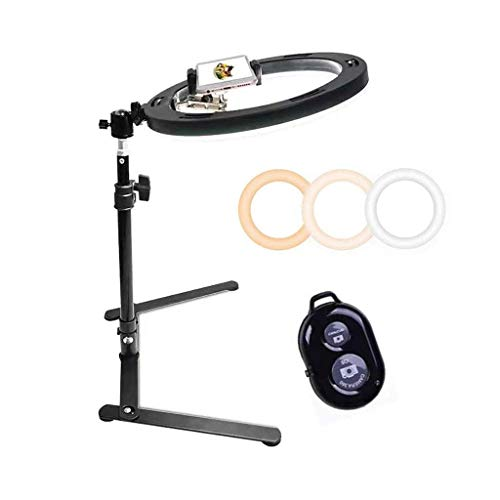 Dpliu 10.2-Inch Selfie Ring Light With Adjustable Tripod Mobile Phone Holder Bluetooth Remote Shutter For Live Video Makeup Dimmable Camera Ring Light With 3 Lighting Modes