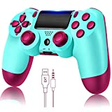 YU33 Wireless Remote Controller Compatible with Playstation 4 System, for PS4 Console with Double Shock and Charging Cable, Great Gamepad Gift for Girls/Kids/Man(BerryBlue,2021 New Model Joystick)…