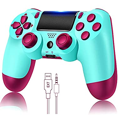 YU33 Wireless Remote Controller Compatible with Playstation 4 System, for PS4 Console with Two Motors and Charging Cable…