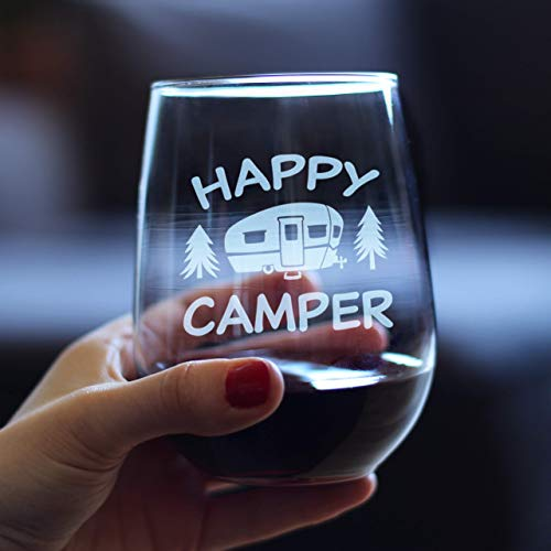 Happy Camper - Funny Stemless Wine Glass - Cute Camping Gifts - Large 17 oz Glasses - Fun RV Accessories for Women and Men