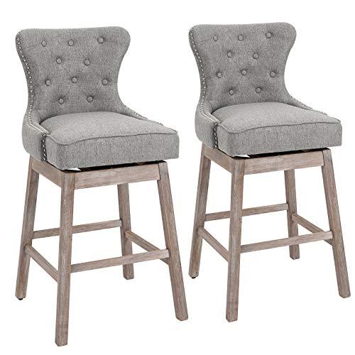 HOMCOM Upholstered Linen Bar Stools 180° Swivel Nailhead-Trim Pub Chairs with Rubber Wood Legs Set of 2, Grey