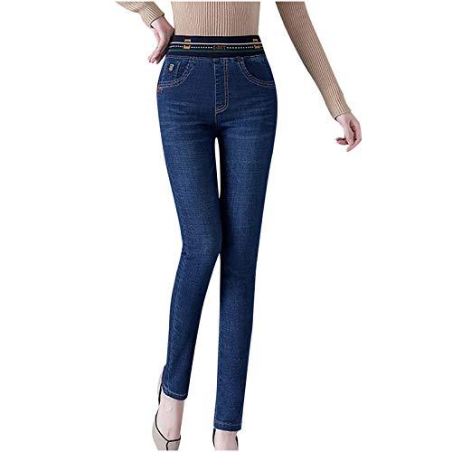 Dasongff Damen Winter Hose Thermohose mit Innenfleece Frauen Hohe Taille Warme Jeans Hosen Dicker Plüsch Gefütterte Dünne Denim Stretchy Hosen Straight Fleece Treggings