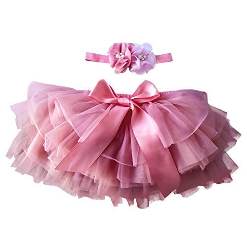 YONKINY Baby Mädchen Tutu Rock Prinzessin Tüllrock Minirock Baby Fotoprops Reifrock Ballettrock für Fotografie Geburtstag + Stirnband (Wassermelonenrot, Größen M für 6-12 Monate)