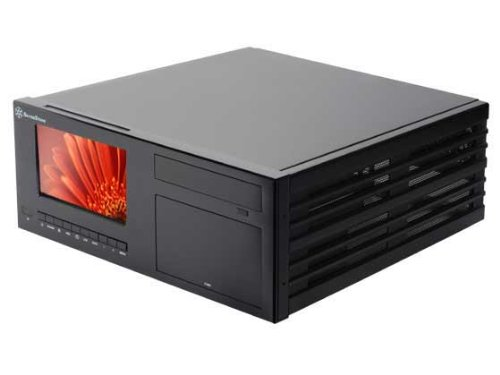 Silverstone Tek Aluminum Body ATX HTPC/Desktop PC Computer Case with 7-Inch Touchscreen, IR and Remote - CW03B-MT (Black)