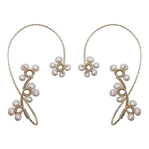 Feixing 1 par de pendientes vintage con diseño de perlas de cristal para mujeres y niñas