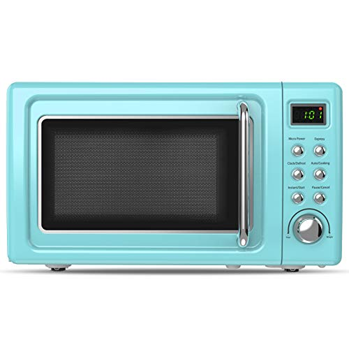 ARLIME Retro Countertop Microwave Oven 07Cuft 700-Watt with 5 Micro Power Defrost Auto Cooking Function LED Display Glass Turntable Viewing Window Stainless Steel