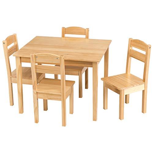 COSTWAY 5 TLG. Kindersitzgruppe, Kindertischgruppe, Kindertisch mit 4 Stühlen, Kindermöbel aus Kiefer, Holzsitzgruppe für Mädchen und Jungen (Natur)