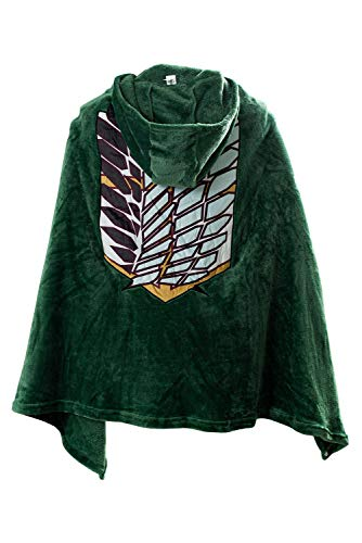 Tifnoyi AOT The Wings of Freedom Flannel Cloak Blanket Halloween Cosplay Costume Cape Green