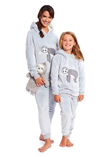Habigail Ladies Girls Pyjamas PJ's for Women Twosie Pajama Set - Mum & Daughter Matching Pajamas Sets (Grey Sloth, L 16-18 UK)