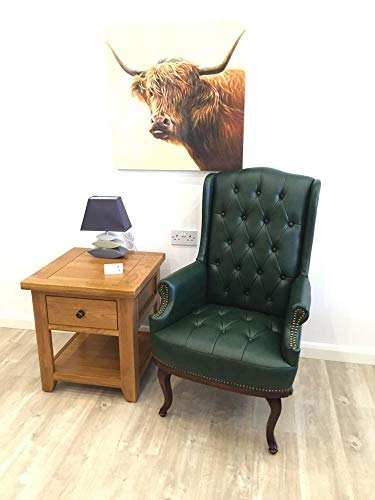Chesterfield Style Leather High back Winged Fireside Armchair Chair Orthopedic (Antique Green)