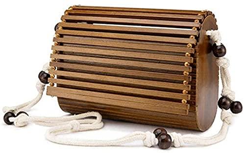 lndytq Sac en bambou de haute qualité Designer bois mode bandoulière sac à bandoulière femmes été plage rabat dames Messenger Bag-B