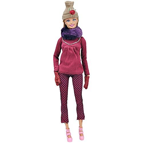 XKMY Vestidos para muñeca 1/6 hecho a mano Accesorios de muñeca de moda ropa de invierno ropa de muñeca diario vestido casual con bolsa de abrigo traje para ropa (color : ropa Barbie k)