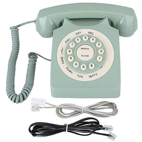 FTVOGUE- Decoración de Oficina en casa Teléfonos fijos Verde Vintage clásico Dial Giratorio Teléfono residencial con Tono de Llamada Teléfonos Antiguos para Oficina en casa