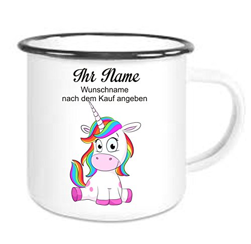 Crealuxe Emaille Tasse mit Rand Einhorn Tasse mit Wunschname - Kaffeetasse mit Motiv, Bedruckte Email-Tasse mit Sprüchen oder Bildern