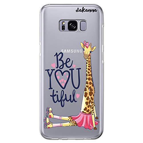 dakanna Funda para [Samsung Galaxy S8 Plus] de Silicona Flexible, Dibujo Diseño [Girafa con Patines, Corazones y Frase Be You Tiful], Color [Fondo Transparente] Carcasa Case Cover de Gel TPU