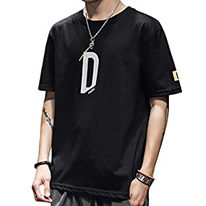 ODFMCE tシャツ メンズ 長袖 半袖 綿 プリント カットソー ゆったり おしゃれ 大きいサイズ (ブラック(半袖), L)
