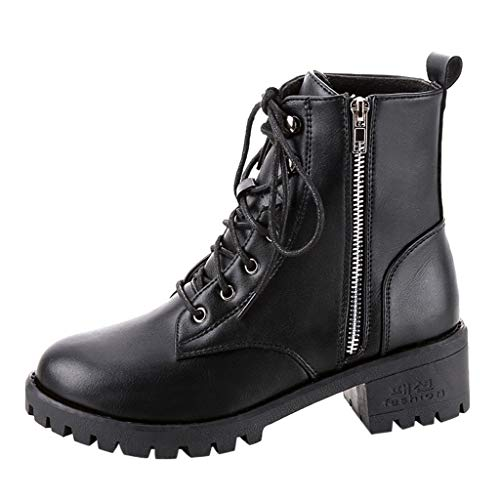 haoricu Black Combat Ankle Boots for Women PU Leather Boots for Women, Cap Toe Lace Up Boots with Zipper