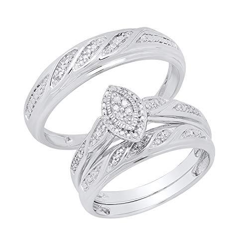 Dazzlingrock Collection 0.12 Carat (ctw) Round White Diamond Men's & Women's Marquise Shape Engagement Ring Trio Set, Sterling Silver