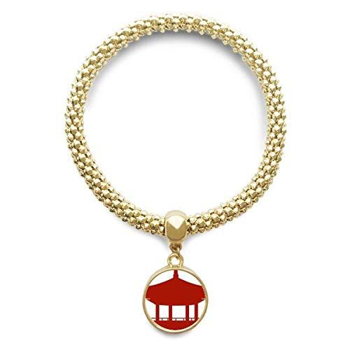 DIYthinker Damen China-Pavillon Kultur Silhouette Muster Goldene Armband Laufende Anhänger Schmuck-Kette