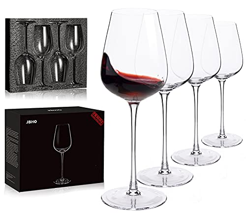 Hand Blown Italian Style Crystal Bordeaux Wine Glasses - Great Gift Packaging - Red Wine Glasses Lead Free Premium Crystal Clear Glass - Set of 4-18 Ounce