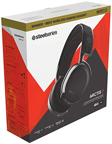 SteelSeries Arctis 7 (gaming headset, lossless and wireless, DTS Headphone: X v2.0 Surround for PC and PlayStation 4) black