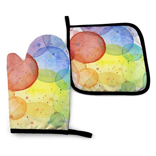 Pag Crane Abstrakte Aquarell-Regenbogen-Kreise Olga Shvartsur Ofenhandschuh- und Topflappenmatten-Set, fortschrittliche hitzebeständige Ofenhandschuh-Topflappenhalter