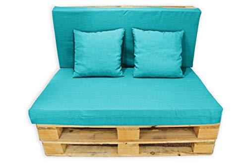 Funda Sin Relleno 4 Piezas Sofá de Palets, Asiento Palet 120x80 cm + Respaldo + Dos Cojines. Cómodo y Elegante para Interior y Exterior. (Azul, Funda (Respaldo + Asiento) + 2 Cojines)