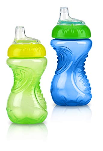 Nuby No Spill Easy Grip Trainer Cup 10 oz (Pack of 2, Blue/Green)