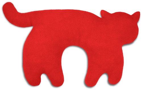 Leschi REISEKISSEN für erholsamen Schlaf in Auto, Flugzeug und Camping-Bett/Reisegeschenk für Kinder und Erwachsene/waschbares Nackenkissen/Katze Feline, rot schwarz