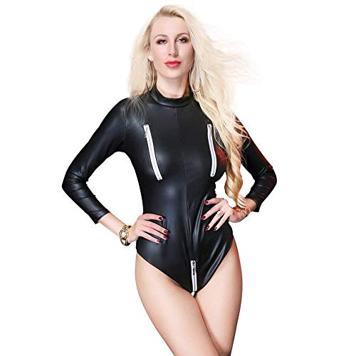 Latex Catsuit Mujeres Catsuit Sex Zip Front Bodycon Leather Club Mono Faux Leather,M