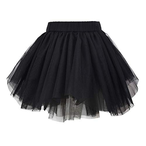 ANGUYA Falda Fluffy Tul Tutú Clásica de Capas de Danza Ballet para Niña Princesa Cintura Elástica Disfraz Halloween Fiesta de 1 a 12 años (Negro, 110)