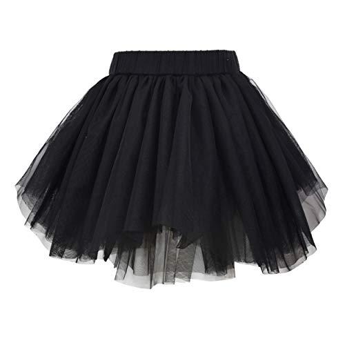 ANGUYA Falda Fluffy Tul Tutú Clásica de Capas de Danza Ballet para Niña Princesa Cintura Elástica Disfraz Halloween Fiesta de 1 a 12 años (Negro, 130)