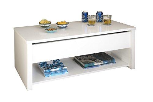Abitti Mesa de Centro elevable, Color Blanco para Comedor o Salon, 100x50x40