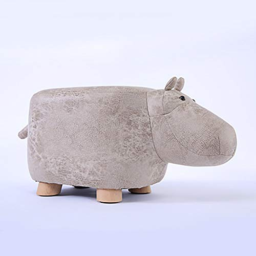 YAOJP Hippopotame Pouf Chambre Tabouret Bois pour Enfants Créatif Banc À Chaussures Décoration du Salon Peut Supporter Un Poids de 200 Kg,Gris
