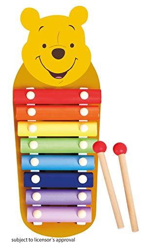 Lena 52950 - Xylofon Disney Winnie The Pooh, Holzxylofon mit 8 Metall Klangplättchen und 2 Schlägel aus Holz, Glockenspiel Schlaginstrument für Kinder ab 24 Monate, Kinderinstrument in Puuh Bär Form