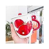 ADosdnn Cartoon Animal Rat Ins in Ceramica Tazza Carina Netta Rossa Tazza Creativa con Coperchio Cucchiaio Ufficio Coppia Coppia Tazza di caffè Regali di Fidanzamento della Tazza di caffè (Color : B)