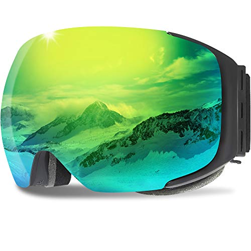 GANZTON Skibrille Anti Fog Snowboardbrille OTG Brillenträger UV-Schutz Snow Snowboard Brille Verspiegelt mit Magnetischer Gläser,Helmkompatible für Damen und Herren,Jungen und Mädchen(Schwarz)