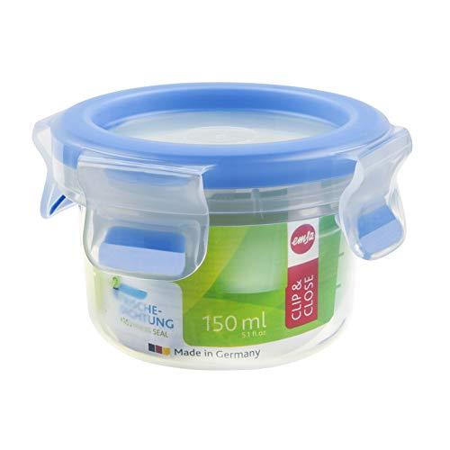 Emsa 508550 Runde Frischhaltedose mit Deckel, 0.15 Liter, Transparent/Blau, Clip & Close